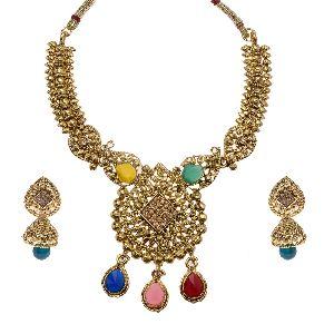 Multicolor Kundan Necklace Set