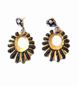 Black Diamond Earring With Diamond Polki