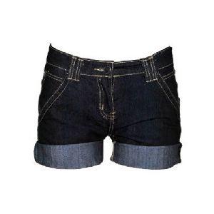 Ladies Black Denim Short