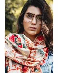 Beige Woollen Embroidered Khadi Muffler