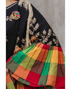 Black Embroidery Cape With Colorful Check Frill and 3D Flowers dress