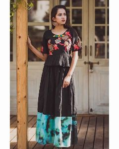 Black Long Linen Skirt With Peplum Embroidered Top