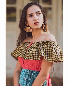 Chex Frill Off-shoulder Long Linen Maxi Dresses