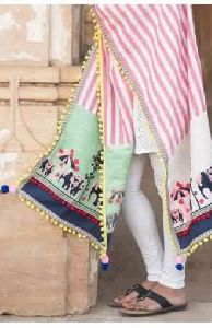 Cute Elephant Embroidered Panel Festive Dupatta