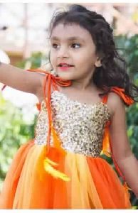 Kids Orange Sequins Yoke Princess Ariel Tutu Dress