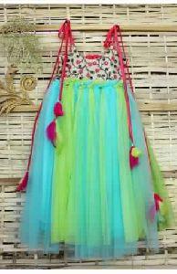 Kids Sky Green Barbie Kids Ball Gown With Embroidery Yoke