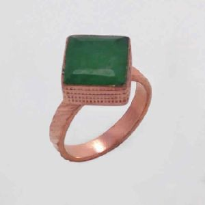 18k Gold Vermeil Green Onyx Gemstone Fashion Ring