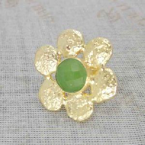 22k Matte Gold Vermeil Green Chalcedony Gemstone Cocktail Ring