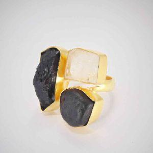 Artisan Handmade Black Tourmaline And Crystal Quartz Gemstone Statement Ring