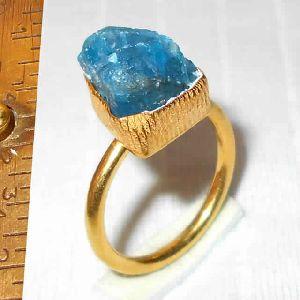 Artisan Handmade Gold Plated Raw Apatite Gemstone Stacking Ring