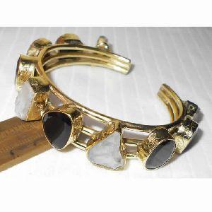Black Onyx And Crystal Quartz Gemstone Cuff Bracelet