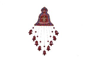 Clay Wind Chimes (painted, Wall Hanging) 9 Bells