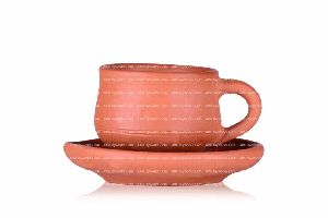 Cup And Saucer With Border Medium