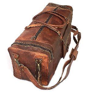 Leather Bag Vintage Genuine 28' Round Duffle Cum Gym Bag By Znt Bags