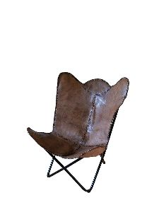 Leather Butterfly Chair With Powder Coating Frame (brown)