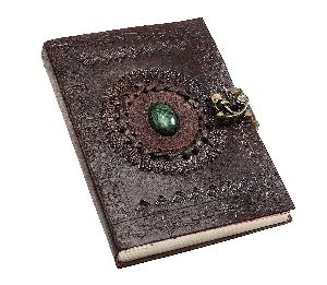 Leather Diary Handmade Diary With Metal Lock & Engraved Stone For Home, Office, Poetry Work