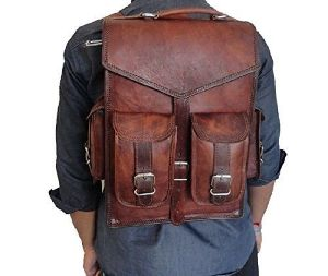 Znt Bags, Mens Large Vintage Leather Backpack School Laptop Bag Hiking Travel Rucksack Brown