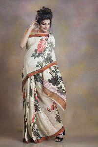 Digital Printed Slik Linen Saree