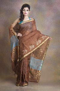 Metallic Printed Linen Saree