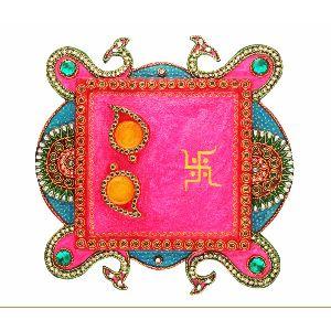 Rajsthani Kundan Square Pooja Plate (hd14)