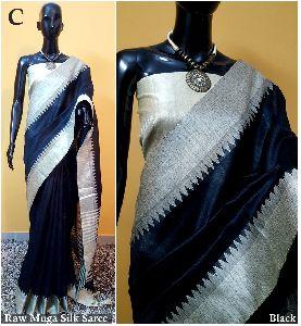 Black Plain Raw Silk Sarees