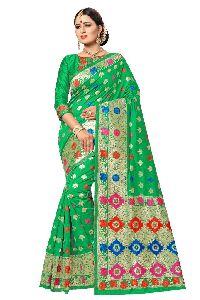 Light Green Banarasi Silk Meenakari Sarees