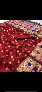 Maroon Banarasi Silk Meenakari Sarees