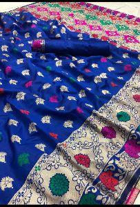 Royal Blue Banarasi Silk Meenakari Sarees