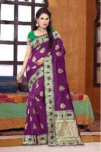 Purple Printed Meenakari Banarasi Sarees