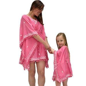 Cotton And Silk Mother Daughter Matching Pink Kaftan