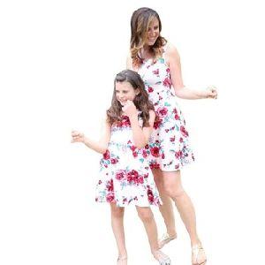 Floral Print Sleeveless Slim Splice Dress
