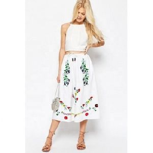 High Waist Multi Color Bohemian Embroidery Short Skirt