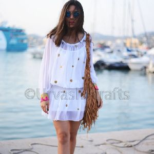 Soft Cotton Dress With Copper Coins Loose Tunic/dresses