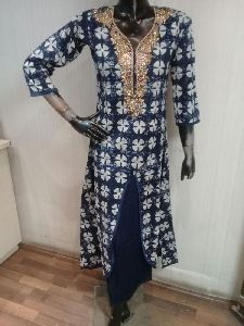 Blue Punjabi Long Kurtis With Neck Designs