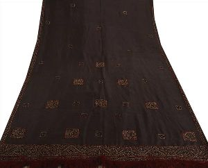 Beautiful Black Colored Hand Embroidered Pure Silk Saree