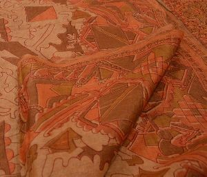 Beautiful Beige Colored Hand Embroidered Printed Pure Silk Sari