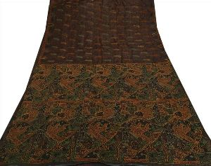 Brown Colored Hand Embroidered Printed Pure Silk Sari