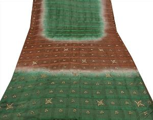 Brown & Green Colored Hand Embroidered Pure Silk Sari