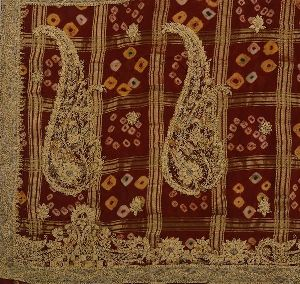 Cotton Hand Beaded Maroon Fabric Bandhani Ethnic Saree