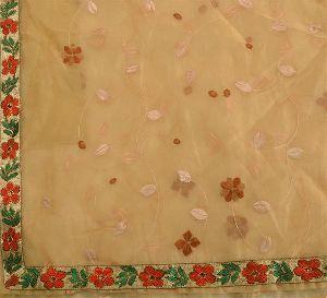 Cream Colored Embroidered Art Silk Sari