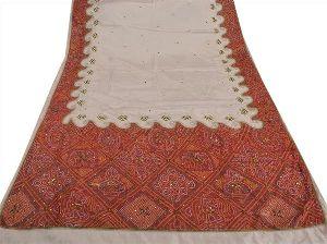Cream Colored Hand Embroidered Art Silk Sari