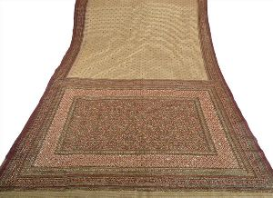 Golden Colored Hand Embroidered Painted Net Sari