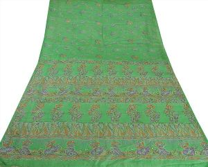 Green Colored Hand Embroidered Printed Pure Silk Sari