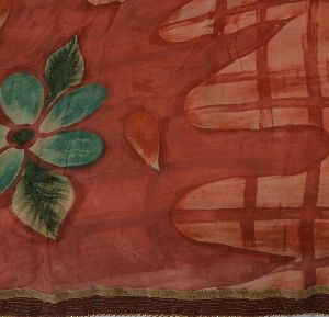 Maroon & Pink Colored Embroidered Printed Georgette Sari
