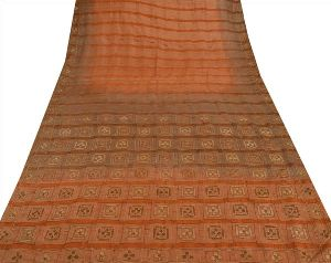 Peach & Brown Colored Hand Embroidered Pure Silk Sari