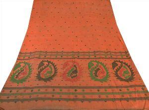 Peach Colored Woven Pure Cotton Tant Sari