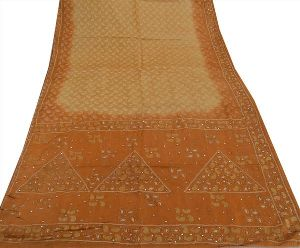 Saffron & Cream Colored Hand Embroidered Woven Pure Silk Sari