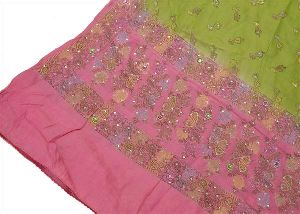 Beautiful Pink Green Colored Pure Silk Hand Embroidered Woven Dupatta