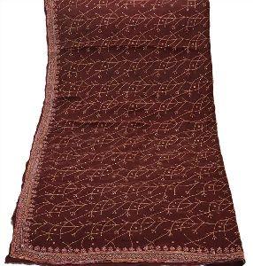 Sanskriti Vintage Dupatta Long Stole Pure Silk Brown Hand Beaded Wrap Dupatta