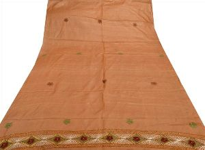Brown Colored Pure Silk Hand Embroidered Long Dupatta